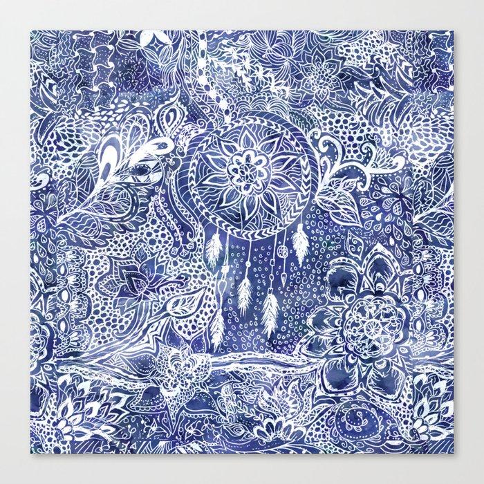 Boho blue dreamcatcher feathers floral illustration Canvas Print