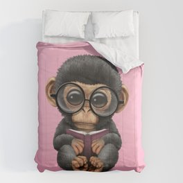 Cute Pink Baby Chimp Reading a Book Comforters
