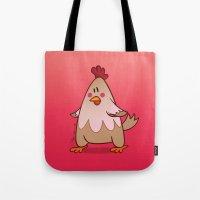 chicken Tote Bags featuring Chicken by jebirvoki