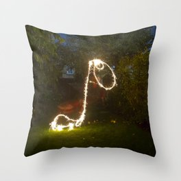 The Long Necked Dachshund in pursuit of shooting stars Throw Pillow