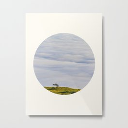 Mid Century Modern Round Circle Photo Graphic Design Green Hill In The Sky Metal Print