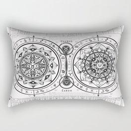 "Taurus ""Earth Sign"" Zodiac Mandala Chart Rectangular Pillow"
