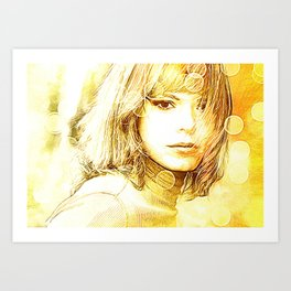 Society6 Tapestry Yellow Lady Art Print