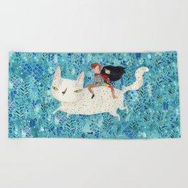 White giant cat Beach Towel