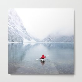 Kayaking Across A Canadian Lake Metal Print
