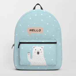 Cute Polar Bear in the Snow says Hello Backpack