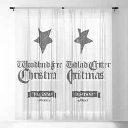 Woodland Critter Christmas Black Text Sheer Curtain
