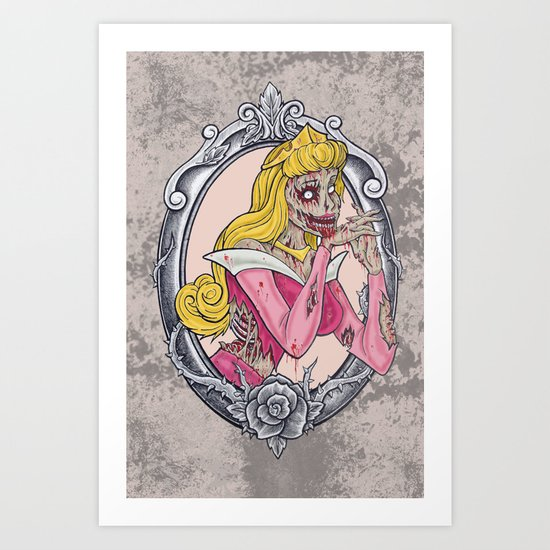 Zombie Sleeping Beauty Art Print