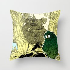 Leaf Owl & The Cuddling Koalas. Throw Pillow
