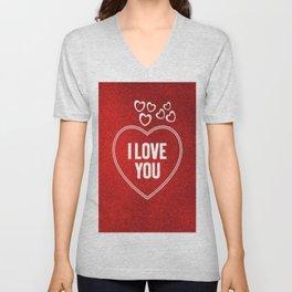 Lovely Hearts red Unisex V-Neck