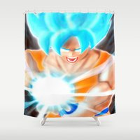 dragonball Shower Curtains featuring SSGSS Goku by AmaterasuVG