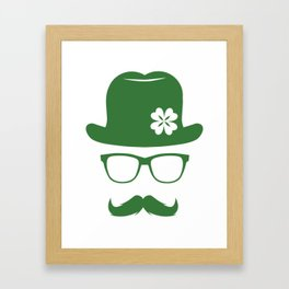 St Patricks Day Green Derby Moustache Hipster Design Framed Art Print