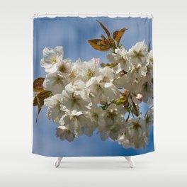 White Cherry Blossom Shower Curtain