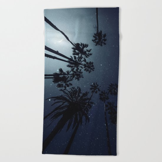 Palm Trees, Night Sky, Stars, Moon Beach Towel