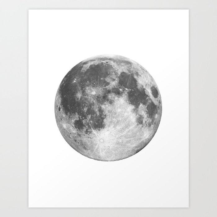 Full Moon phase print black-white monochrome new lunar ...