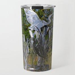 A Heron in the Glen- horizontal Travel Mug
