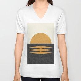 Sunset Geometric Midcentury style Unisex V-Neck