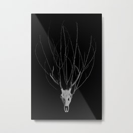 Deer Skull with a crown of branches Metal Print
