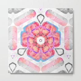 Pink Viola Hybrid Flower Abstract Art Watercolor Metal Print
