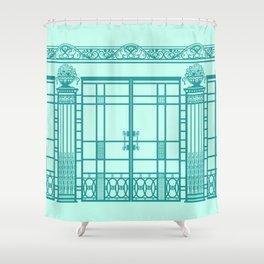 ART DECO, ART NOUVEAU IRONWORK: Blue Green Dream Shower Curtain