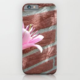 Pretty Pink Lily on Brick Wall iPhone Case
