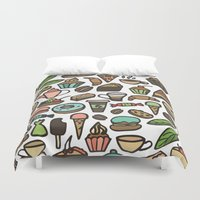 macaroon Duvet Covers featuring Coffee and pastry. by Julia Badeeva