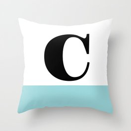 Monogram Letter C-Pantone-Limpet Shell Throw Pillow
