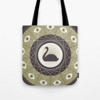 black swan Tote Bags featuring Black Swan by Zara Picken