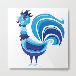 Blue Rooster Metal Print