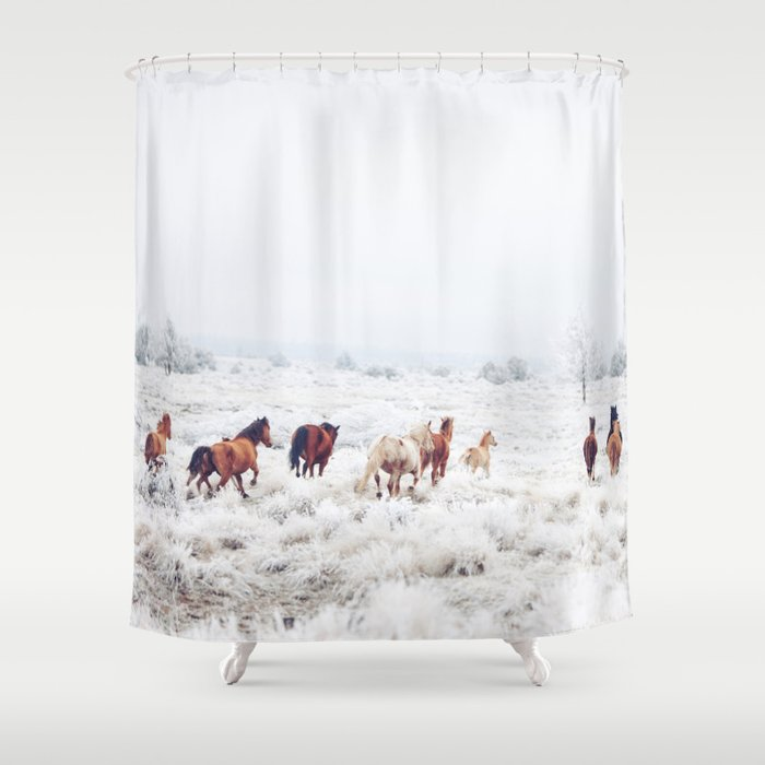 Winter Horses Shower Curtain by kevinruss   Society6