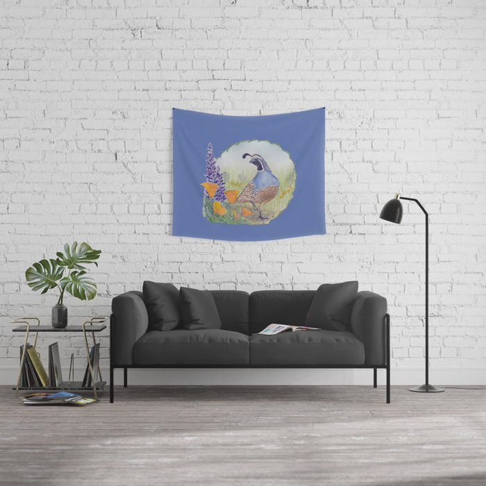California Quail with Poppies and Lupine on Blue Wall Tapestry