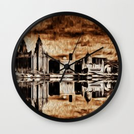 Liverpool Water front Skyline (Digital Art) Wall Clock