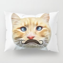 chat avec une moustache (Cat with a mustache in French) Pillow Sham