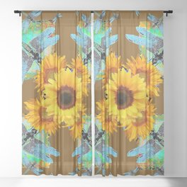 MODERN SUNFLOWERS BLUE DRAGONFLIES BROWN ABSTRACT Sheer Curtain