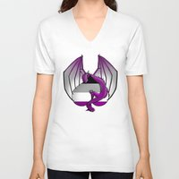 asexual V-neck T-shirts featuring Asexual Wyvern by (i)Rene