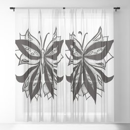 Abstract Butterfly Stipple Shaded Ink Drawing Sheer Curtain