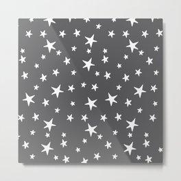 Stars - White on Gray Metal Print