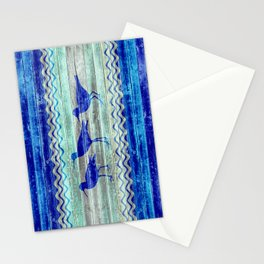 Rustic Navy Blue Coastal Decor Sandpipers Stationery Cards