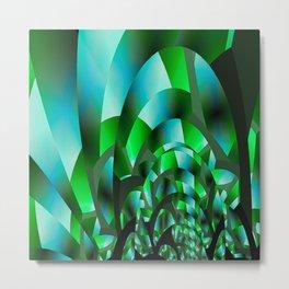 Fractal Waves (emerald green) Metal Print