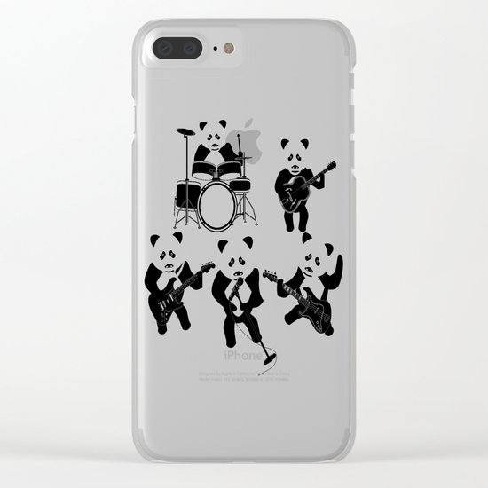 Panda Rock Band Clear iPhone Case