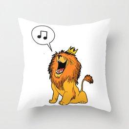 Lion singing Throw Pillow