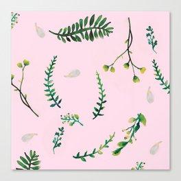 Greenery Pink Background Canvas Print