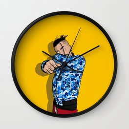 fuck bape camo blue Wall Clock