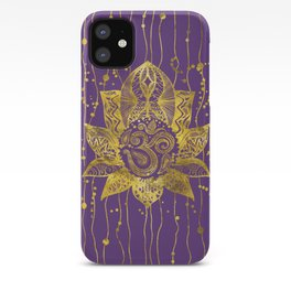 Gold Lotus flower and OM symbol iPhone Case