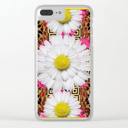White Shasta Daisy Fuchsia  Pink Purple Patterns, Clear iPhone Case