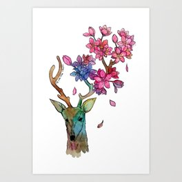 A deer with cherryblossom Art Print