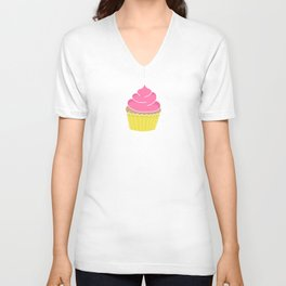 Pink Cupcakes with Frosting Unisex V-Neck