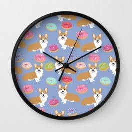 Welsh Corgi red corgis donuts doughnuts pet art dog breed gifts Wall Clock