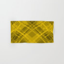 Swirling yellow ribbons with a pattern of symmetrical checkerboard rhombuses.  Hand & Bath Towel