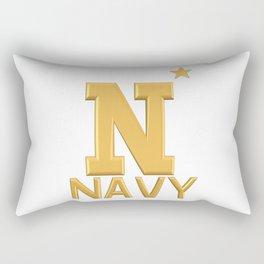 Navy Star Gold Logo Rectangular Pillow